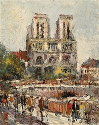 view of the notre-dame in paris by alfons jan frans brunott