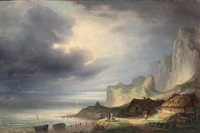 coastal scene with people on the beach looking out over the sea by daniel hermann anton melbye