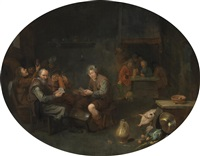 a tavern interior with men playing cards by david ryckaert iii