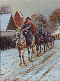 riding dragoons, winter time by karl frederik christian hansen-reistrup