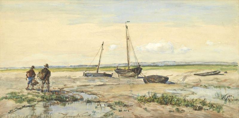 pecheurs et bateaux de peche à marée basse by johan barthold jongkind