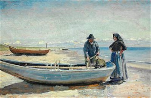 a fisherman and his wife on skagen sønderstrand, in the background the lighthouse by michael peter ancher