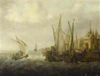 shipping in choppy seas off a harbour by jan peeters the elder
