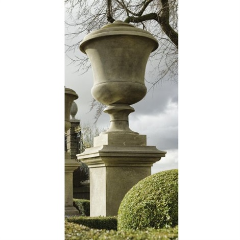 an urn on pedestal set of 7 by andrea palladio