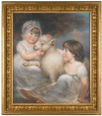 portrait of miss e. and miss l. earle with a lamb by john russell