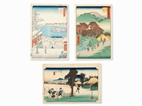 untitled (3 works, oban) by ando hiroshige