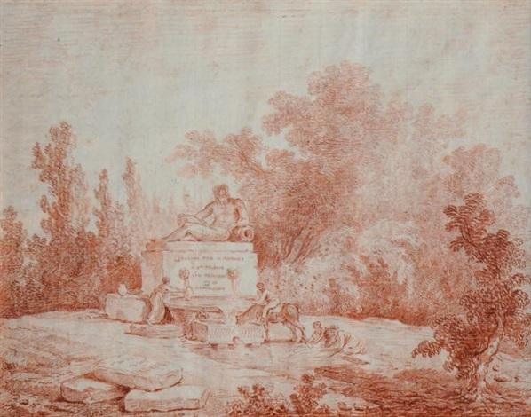 fontaine dans un paysage italien animé by hubert robert