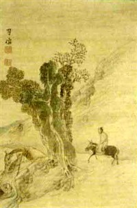 a sage riding a mule along a mountain pass by gessen