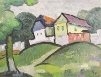 landscape with houses by eugen gasca
