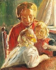 sunny interior with a mother and her two girls by michael peter ancher