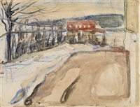 winter landscape with red house at ekely by edvard munch