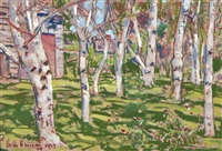 old barn and the birches by childe hassam