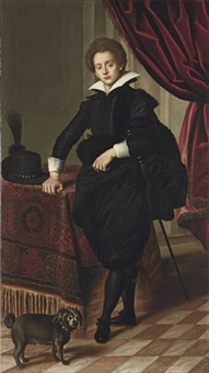 portrait of a gentleman in black doublet, mantle and pantaloons by jacopo (da empoli) chimenti
