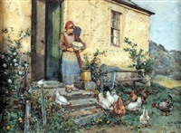 girl feeding chickens before a cottage by robert eadie