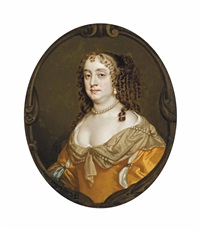 portrait of barbara villiers, countess of suffolk (1622-1681), half-length, in a gold dress with pearl ornaments, in a sculpted cartouche by sir peter lely