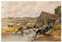 lavandières en bord de rivière by henri linguet