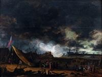 un campement de soldat devant une ville assiégée by egbert lievensz van der poel