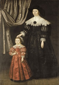 double portrait of a lady and her daughter by gilbert jackson