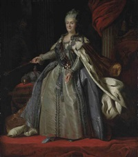 portrait of catherine the great, empress of russia in robes of state, standing before a draped column by fedor rokotov and alexander roslin