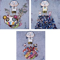 i met a panda family/ pom & me: on the red mound of the dead/ me and the mr. dobs (set of 3) by takashi murakami