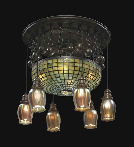 six light geometric chandelier by tiffany studios