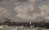 fishing boats in stormy seas, a distant view of a town by hendrick van anthonissen