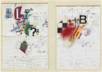 zwei bildbriefe an dr. rudolf blum (2 works) by jean tinguely
