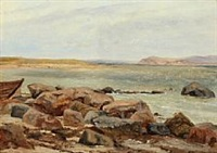 beach near helgenæs by janus andreas barthotin la cour