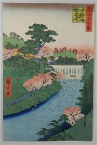 série des 100 vues célèbres d'edo. planche 19 - otonashigawa entei, sezoku ?taki to tonau. barrage sur la rivière otonashi à ?ji, connu sous le nom otaki « la grande cascade » by ando hiroshige