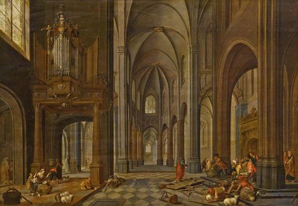 kircheninterieur mit staffage (tempelreinigung) by peeter neeffs the elder