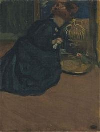 femme au perroquet by mary cassatt
