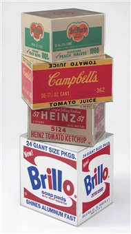 brillo box, campbell's tomato juice box, heinz tomato ketchup box, del monte peach halves box (4 works) by andy warhol