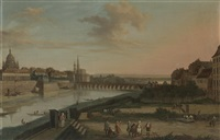 dresden from the right bank of the elbe below the augustus bridge at dresden from the right bank of the elbe above the augustus bridge (pair) by bernardo bellotto