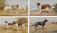chien st. bernard, chien berger de beauce, couple de braques d'auvergne et couple d'epagneuls bretons (4 works) by léon barillot