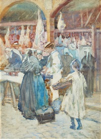 the meat market, dinan by frances mary hodgkins