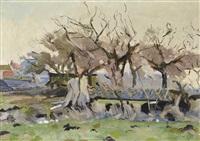 trees in front of a farm by jan van der zee
