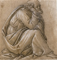 study for a seated st joseph, his head resting on his right hand by sandro botticelli