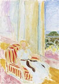 jeune fille en robe blanche, assise près de la fenêtre by henri matisse