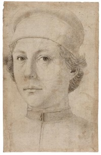 portrait of a young man, head and shoulders, wearing a cap by piero pollaiuolo