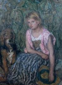 jeune fille au chapeau de paille et son chien by edmond françois aman-jean