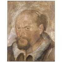 portrait of a bearded man; (+ partial study of a madonna and child, after raphael, red chalk, verso) by hans asper