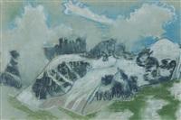 verschneite gebirgskette zwischen nebelschwaden by august babberger