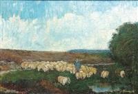 schäfer und herde in einer heidelandschaft by oskar frenzel