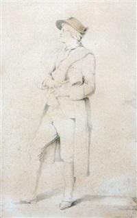 portrait du sculpteur en pied, son maillet à la main by jean guillaume moitte