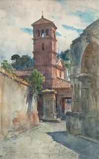 calle con campanario by filippo anivitti