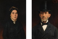 portrait of ignaz deutsch (+ portrait of his wife; pair) by ludwig deutsch
