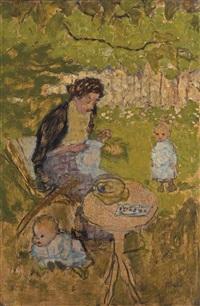 femme cousant dans un jardin (avec enfants) by pierre bonnard