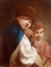 ein mann und ein knabe mit einer trommel, un'uomo e un ragazzo con tamburello by giuseppe angeli