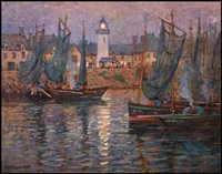 harbour with fishing boats by charles herbert eastlake