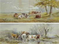 cows in a watering hole (+ cows grazing in a field; 2 works) by henry earp